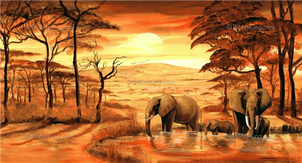 Mural - Mia Morro : elephants at the pond